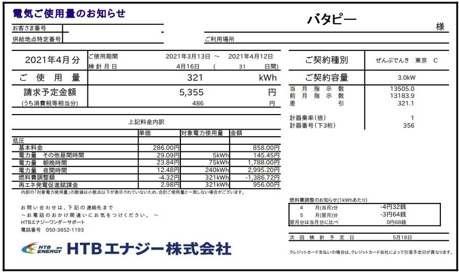 ぜんぶでんき東京4月電気代請求額1