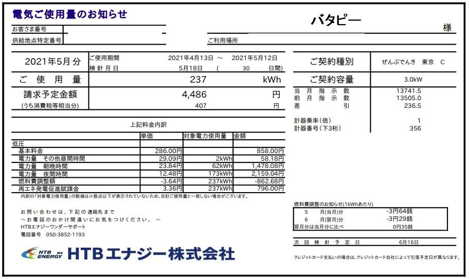 ぜんぶでんき東京5月電気代請求額1